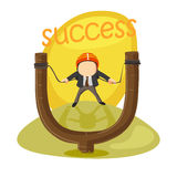 Young Businessman in slingshot. Stock Photos