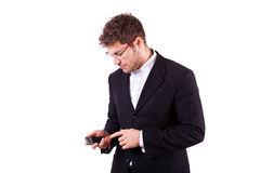 Young Businessman with Smartphone Royalty Free Stock Photography
