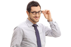Young businessman smiling and looking at the camera Stock Images