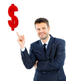 Young businessman smiling and points Stock Photography