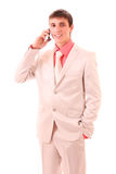 Young businessman speaking with phone Royalty Free Stock Photography