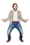 Young businessman standing in boxer position and ready to fight Royalty Free Stock Photo