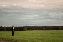 Young businessman standing in elegant suit on a green meadow royalty free stock image