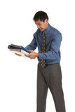 Young Businessman Standing Frustrated Holding Documents Isolated Royalty Free Stock Photography
