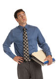 Young Businessman Standing Frustrated Holding Documents Isolated Royalty Free Stock Images