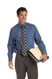 Young Businessman Standing Smiling Holding Documents Isolated Royalty Free Stock Images