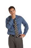 Young Businessman Standing Thoughtful Gesture Isolated Stock Photos