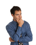 Young Businessman Standing Thoughtful Gesture Isolated Royalty Free Stock Images