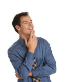 Young Businessman Standing Thoughtful Gesture Isolated Stock Photo