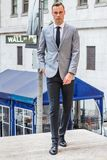 Young Businessman Street Fashion in New York City stock image