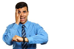 Young businessman is in stress Royalty Free Stock Photo