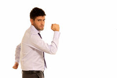 Young businessman strong copy-space isolated. Young businessman cheerful strong gesture with two hands copy-space isolated on white background Stock Images