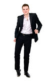 Young businessman in suit dancing Stock Photo