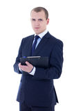 Young businessman in suit holding clipboard isolated on white Stock Photography