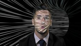 Young businessman in suit playing a game in which he travels through a maze using augmented virtual reality -. Young businessman in suit playing a game in which stock video