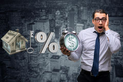 The young businessman surprised at high interest mortgage rates Royalty Free Stock Images