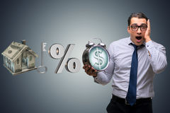The young businessman surprised at high interest mortgage rates Stock Image