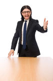 Young businessman swearing  isolated on white Royalty Free Stock Photos