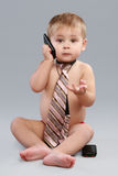 Young businessman talk on cell phone Stock Images
