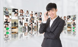 Young businessman talk on phone stock photos