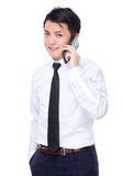 Young businessman talk to cellphone Stock Photography