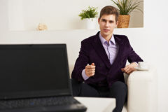 Young businessman talking on meeting at office Royalty Free Stock Photo
