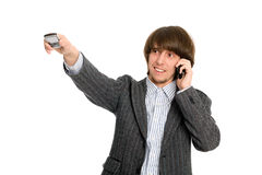 Young businessman talking on a mobile Royalty Free Stock Images