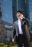 Young businessman talking on mobile phone. Royalty Free Stock Image