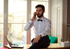 Young businessman talking on the phone at office Royalty Free Stock Images