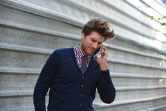 Young businessman talking smartphone phone Royalty Free Stock Photos