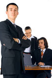Young businessman with team royalty free stock photos