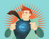 Young businessman tearing his shirt off with euro dollar sign stock illustration
