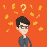 Young businessman thinking vector illustration. Stock Photography