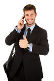 Young businessman with thumb up Stock Photos