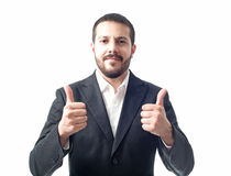 Young businessman thumbs up. Isolated on white Stock Photos