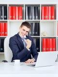 Young Businessman Triumph Stock Image