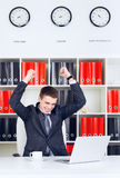 Young Businessman Triumph Royalty Free Stock Photography