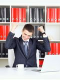 Young Businessman Triumph Royalty Free Stock Photo