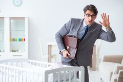 The young businessman trying to work from home caring after newborn baby. Young businessman trying to work from home caring after newborn baby Stock Images