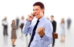 Young businessman using Royalty Free Stock Photography