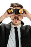 Young Businessman Using Binoculars Stock Photography