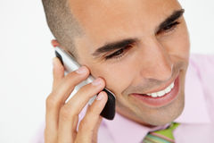 Young businessman using cellphone Stock Images