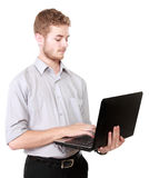 Young businessman using laptop pc on white Royalty Free Stock Photo