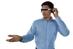 Young businessman using smart glasses Royalty Free Stock Image