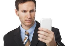 Young businessman using a smart phone Stock Photo