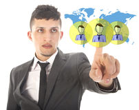 Young businessman with virtual worldwide friends isolated Royalty Free Stock Photo