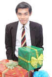 Young businessman w Christmas presents Stock Photography