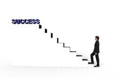 Young businessman walk up to white stair to success 3d text. Business concept Royalty Free Stock Photo