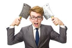 Young businessman with weapon Royalty Free Stock Image