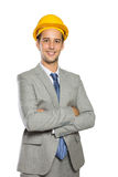 Young businessman wear a safety helmet, isolated Stock Photography